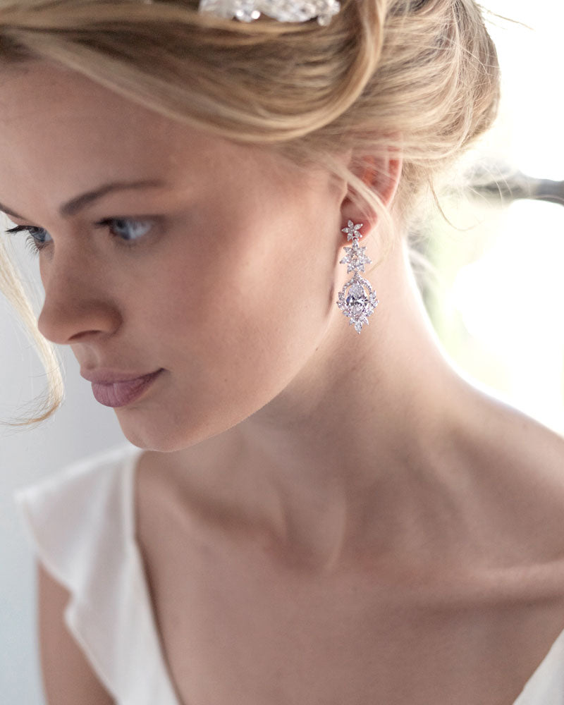 Silver Dangle Bridal Earrings