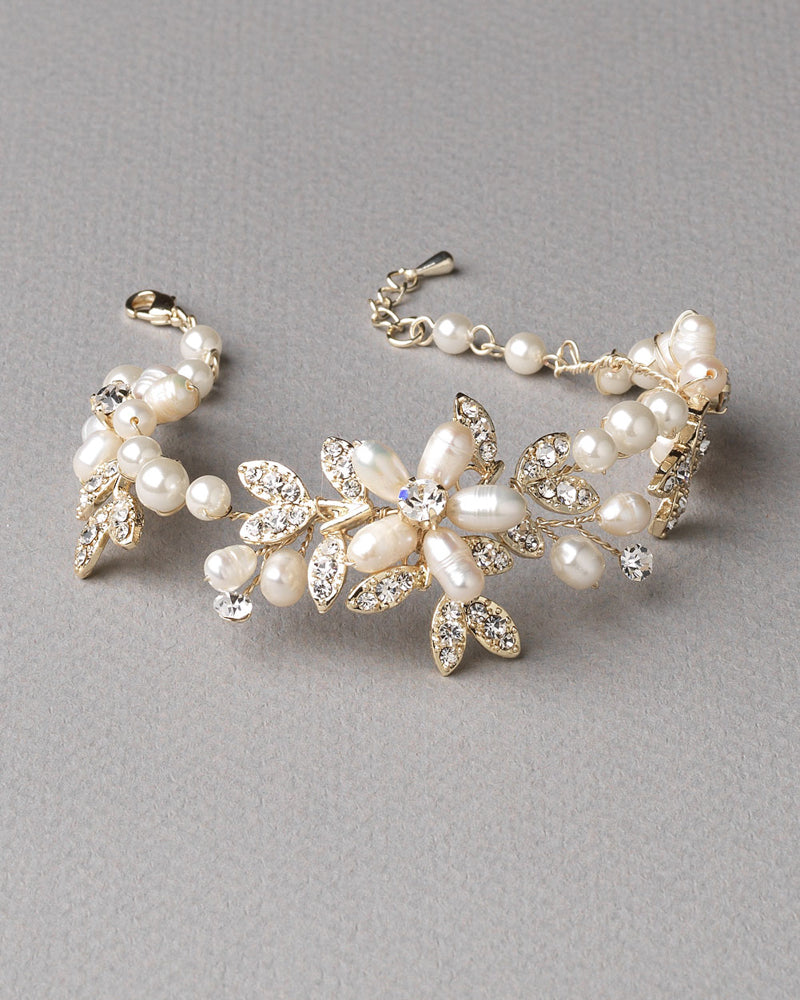 Gold Pearl Wedding Bracelet