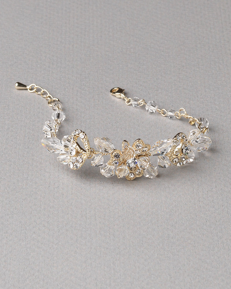 Gold Crystal Wedding Bracelet