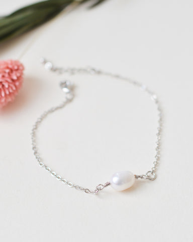 Layered Chain Pearl Drop Necklace