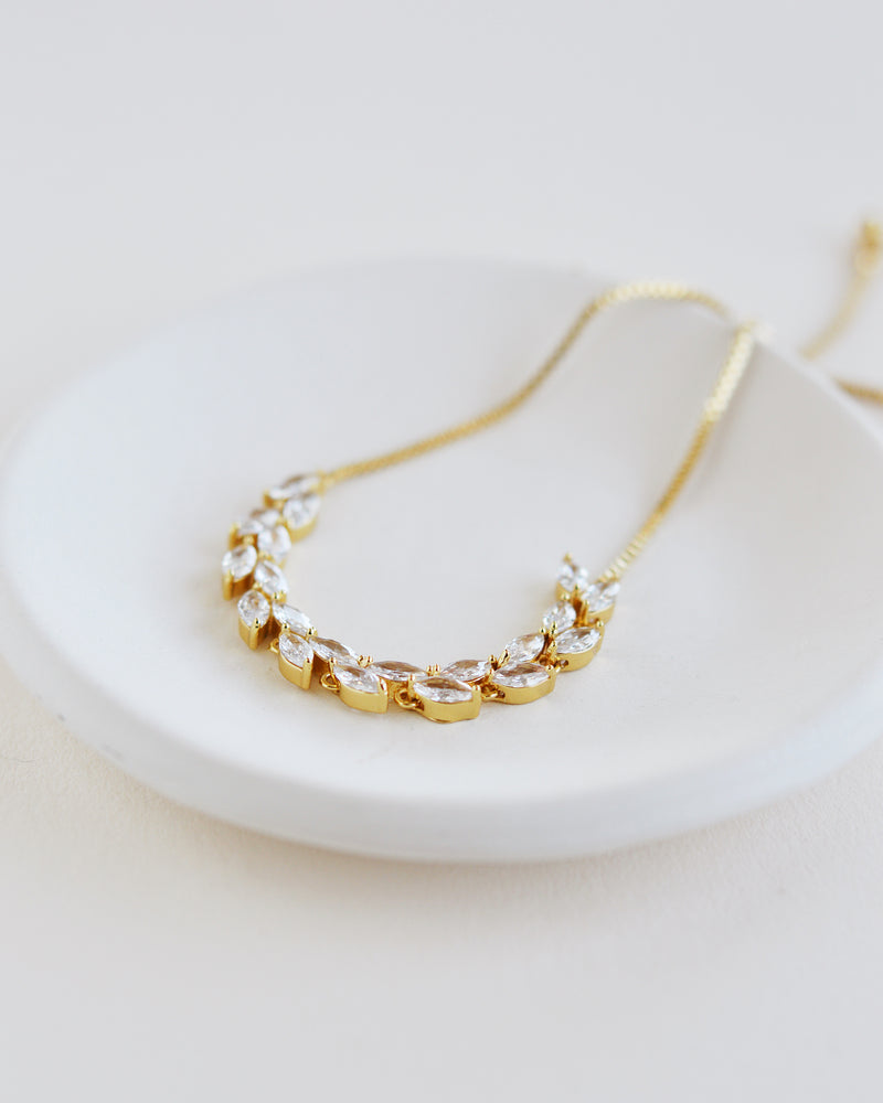 Gold Leaf Wedding Bracelet