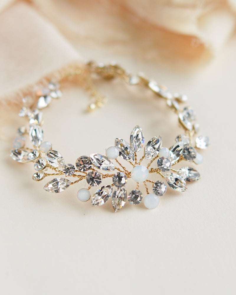 Gold Crystal & Opal Wedding Bracelet