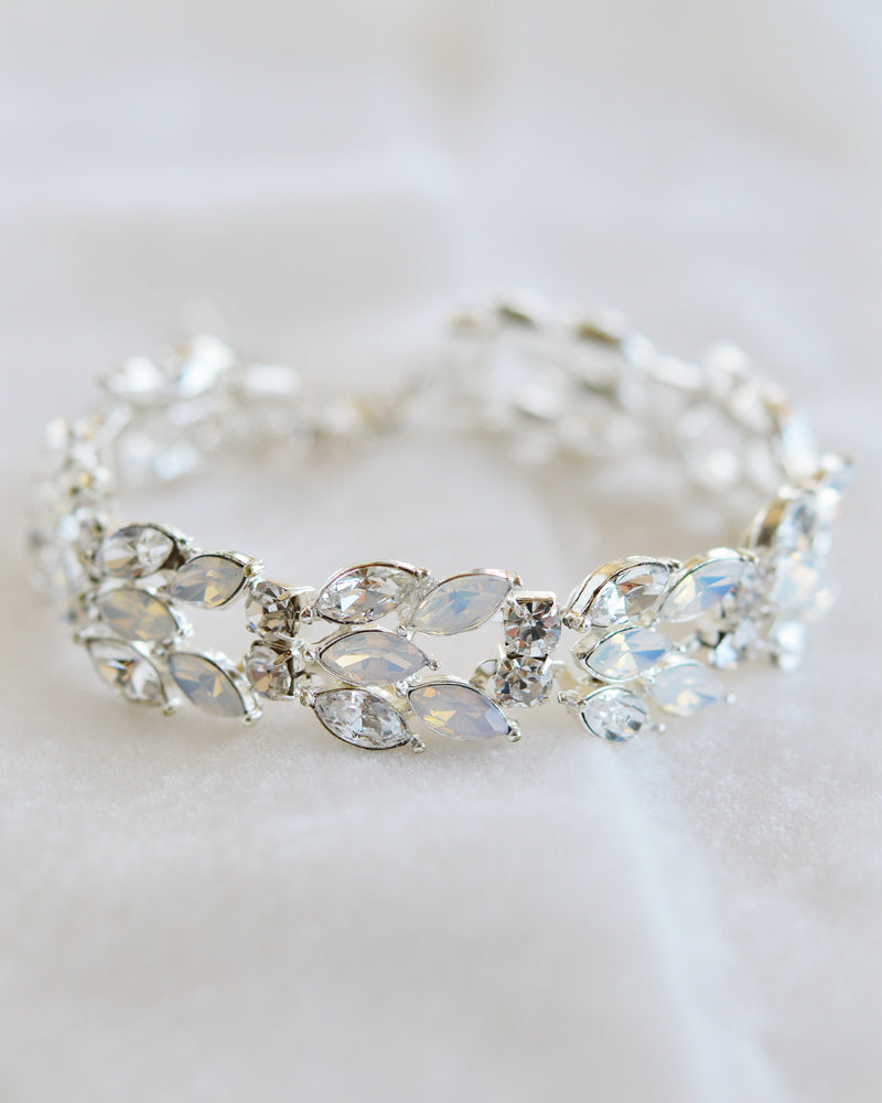Silver Opal & Crystal Wedding Bracelet