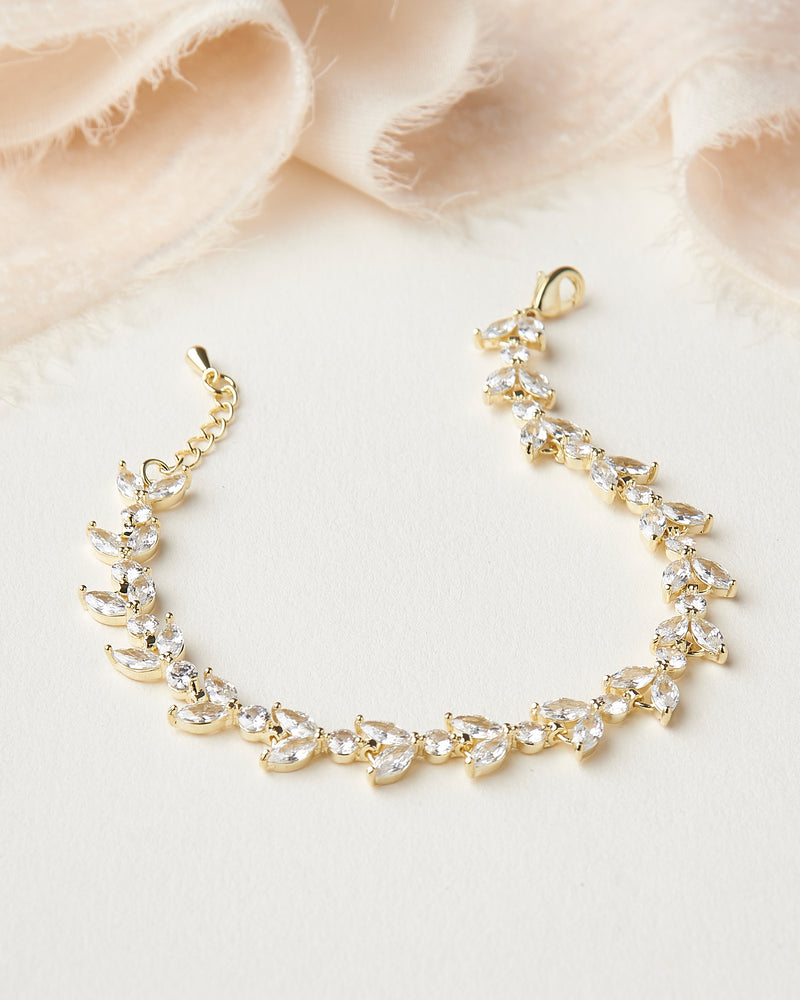 Gold Floral CZ Wedding Bracelet
