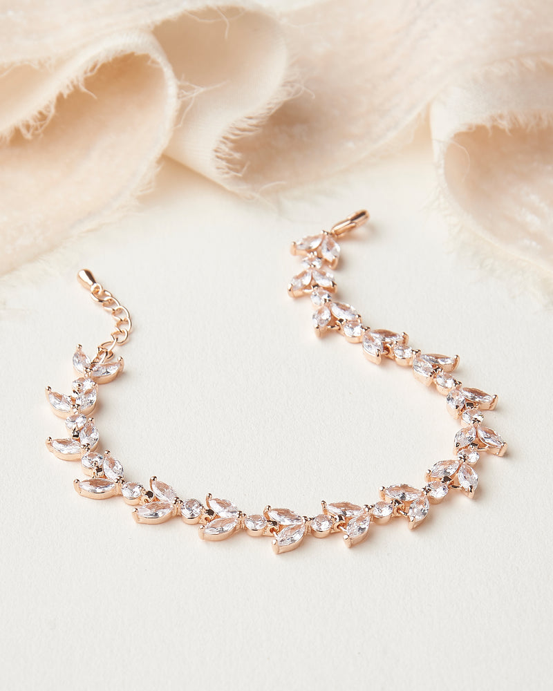Rose Gold Floral CZ Wedding Bracelet