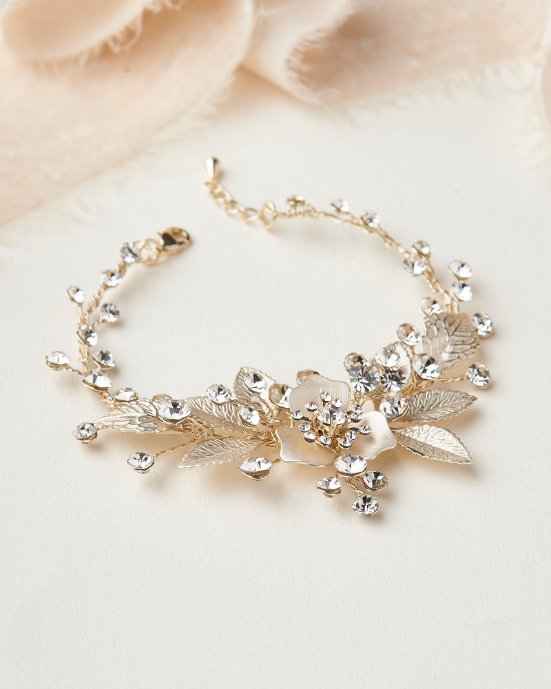 Gold Floral Wedding Bracelet