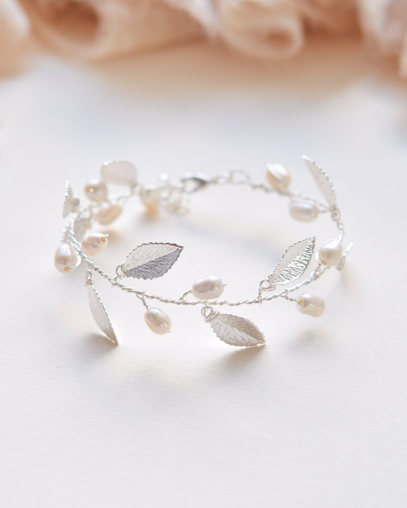 Leaf and Pearl Bracelet
