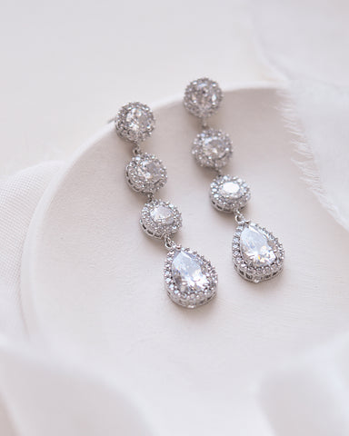Elegant CZ Dangle Earrings