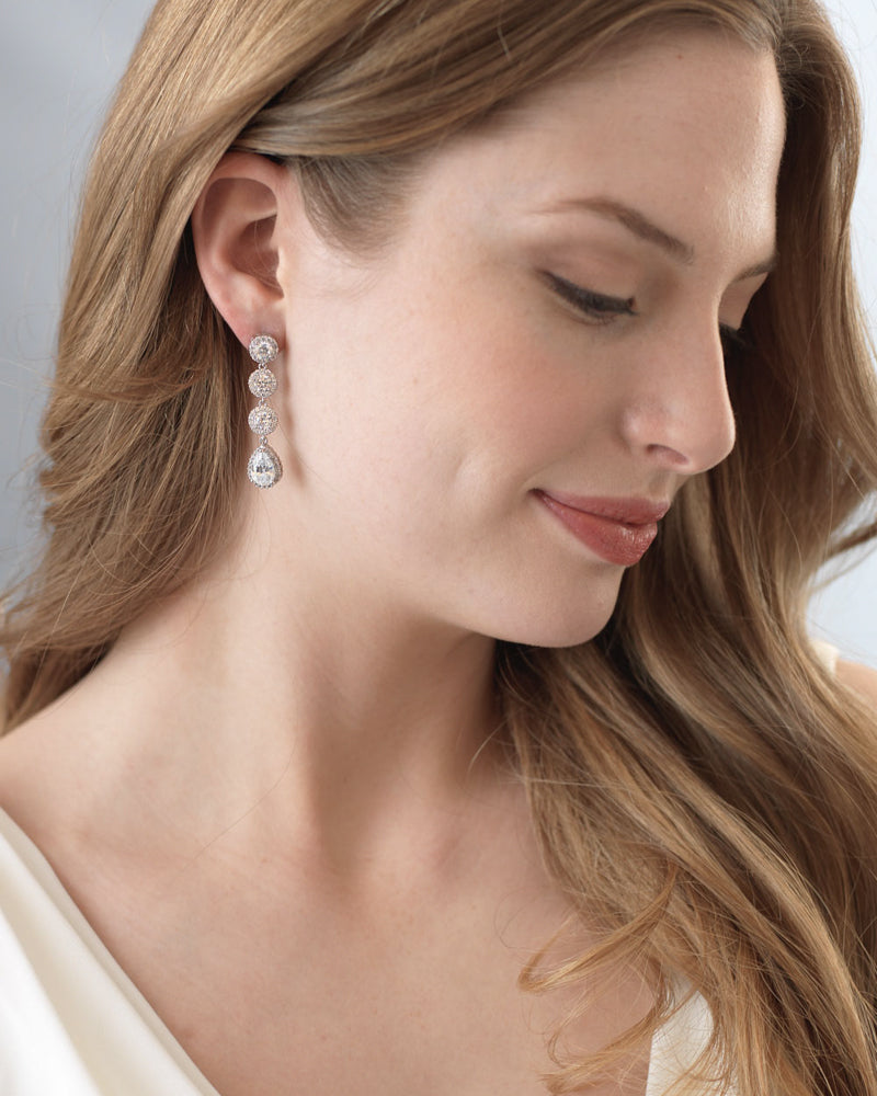 CZ Drop Bridal Earrings