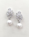 Pearl CZ Wedding Earrings