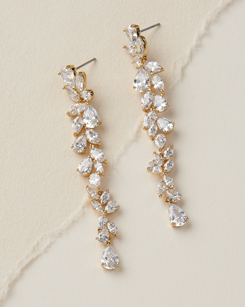 Gold Floral CZ Wedding Earrings