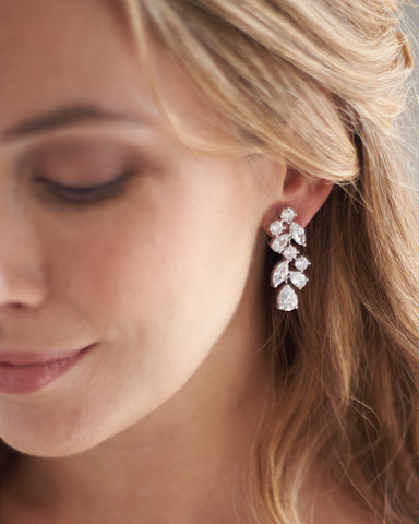 Lila Floral CZ Earrings