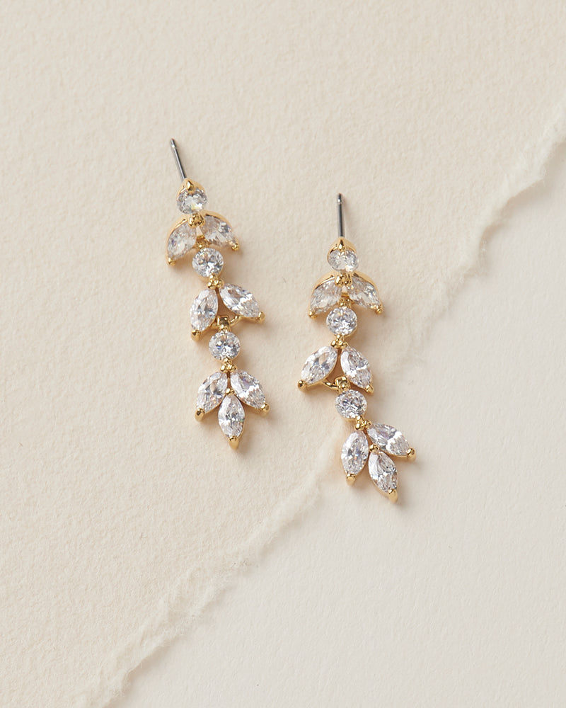 Gold Crystal Bridal Wedding Earrings
