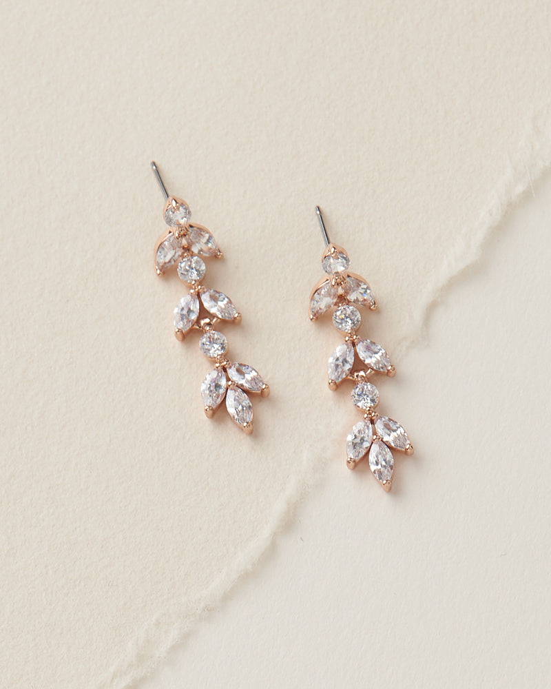 Rose Gold Crystal Bridal Wedding Earrings