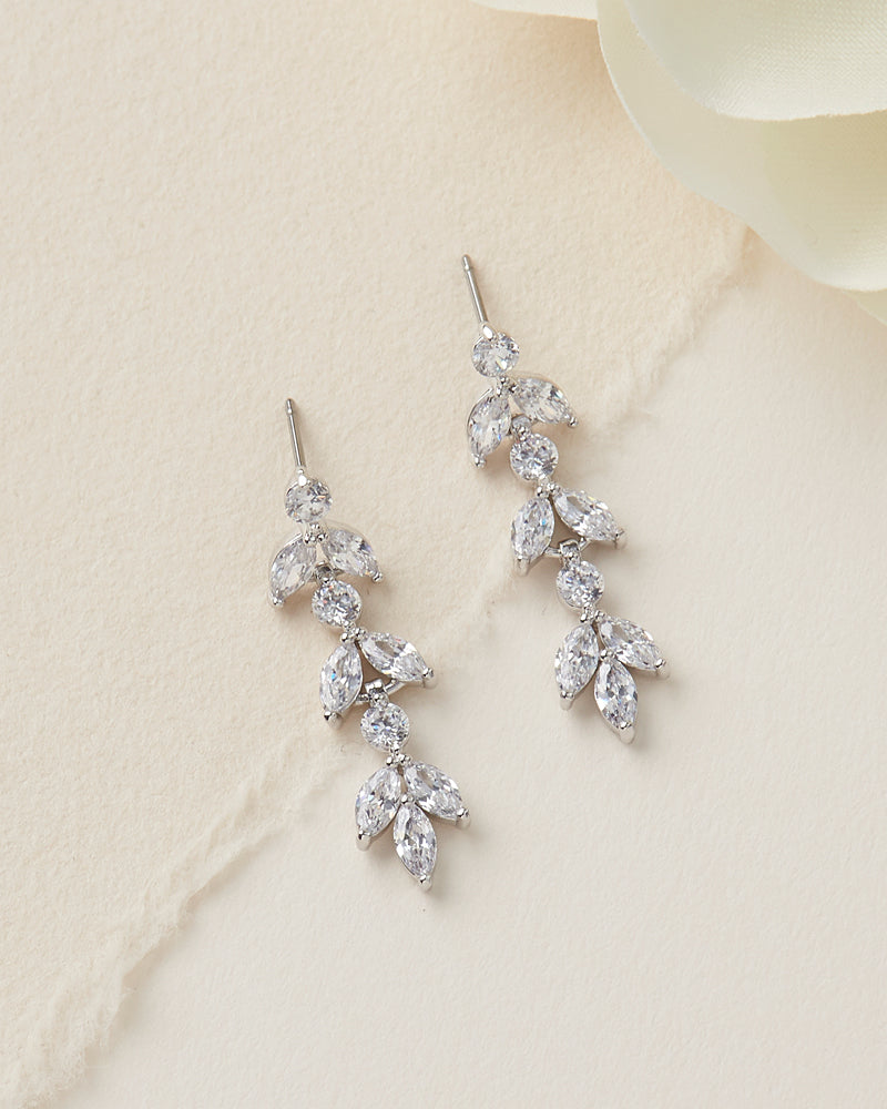 Floral CZ Wedding Earrings
