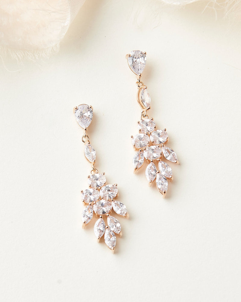 Rose Gold Bridal Earrings
