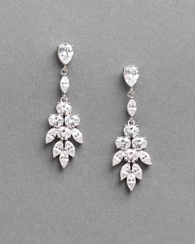 Bridal CZ Earrings Silver