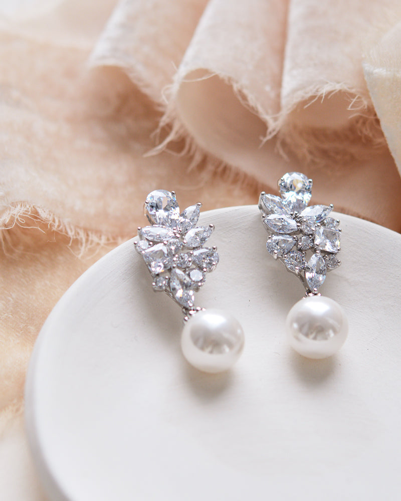 CZ and Pearl Earrings