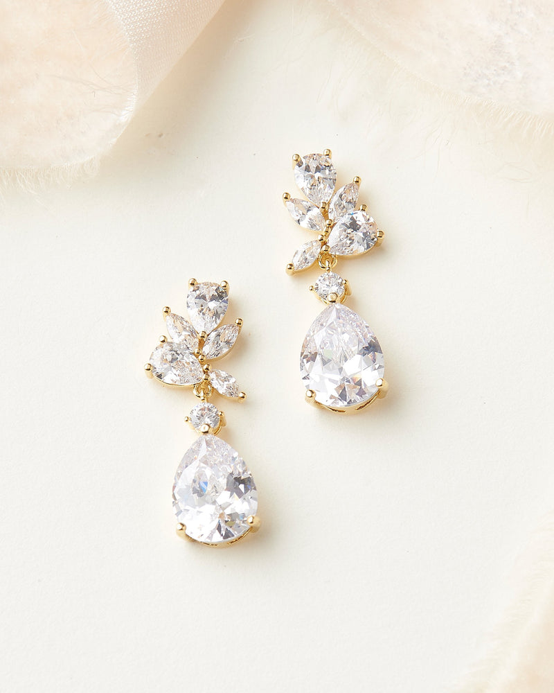 Gold Bridal Earrings CZ