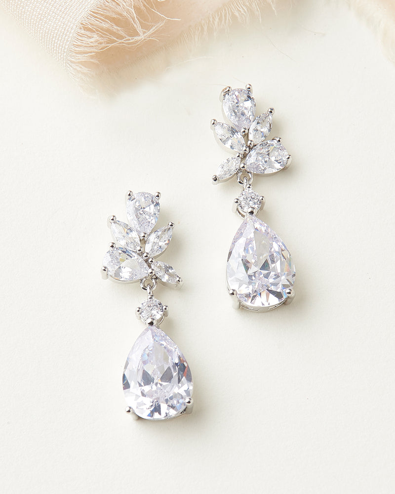 CZ Dangle Bridal Earrings