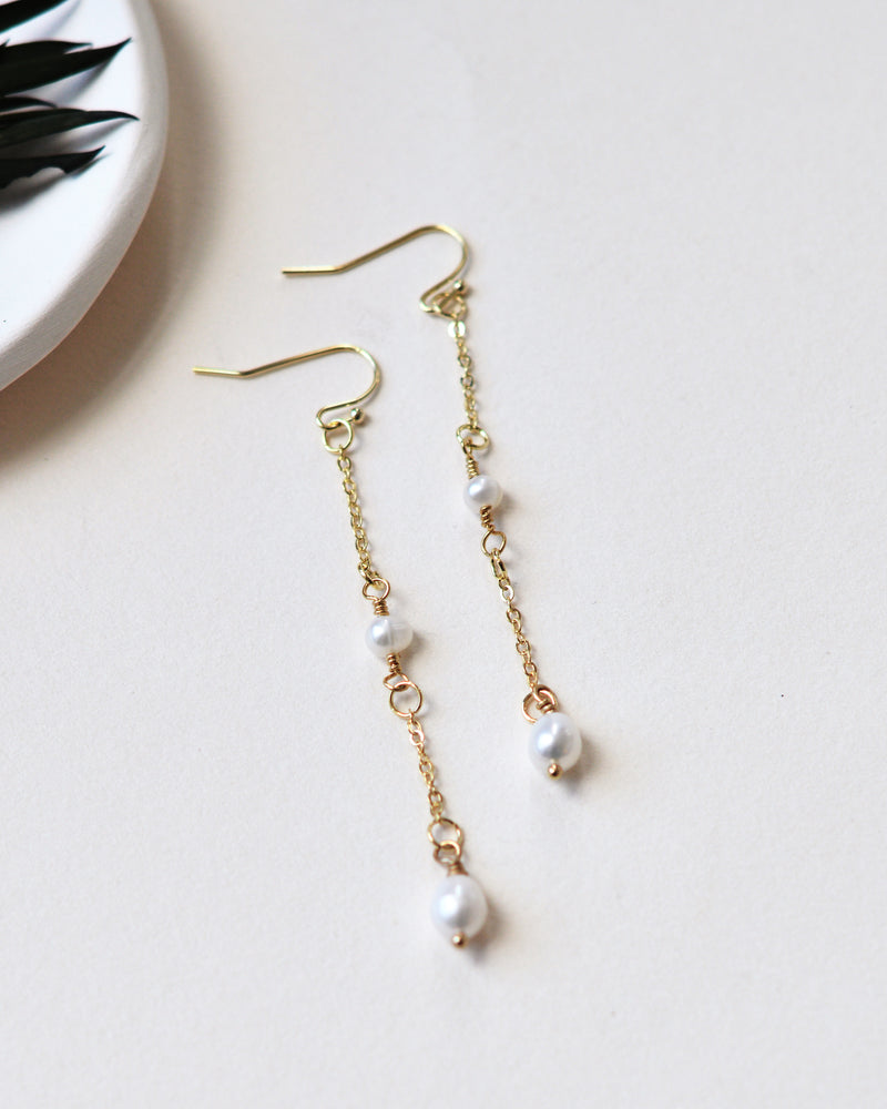 Simple Gold Freshwater Pearl Dangle Drop Wedding Earrings