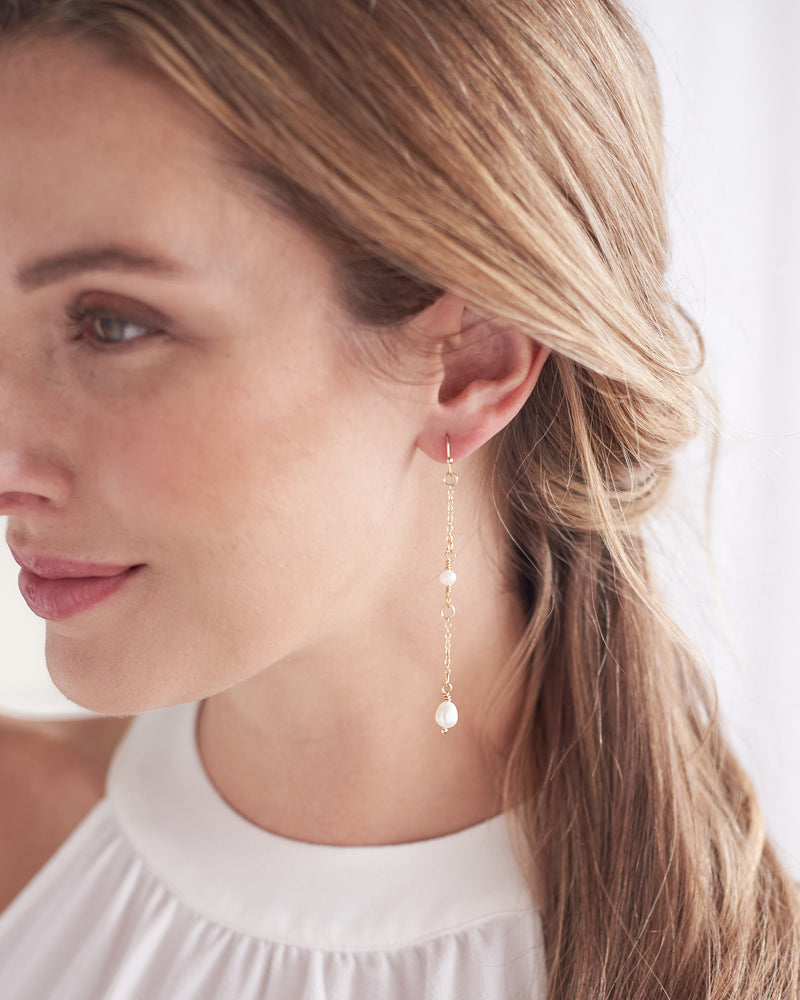 Thin Pearl Drop Earring