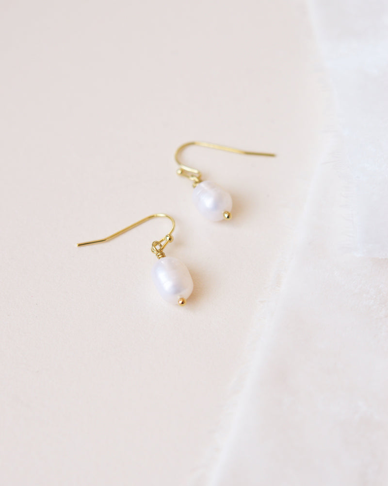 Gold Freshwater Pearl Drop Earrings