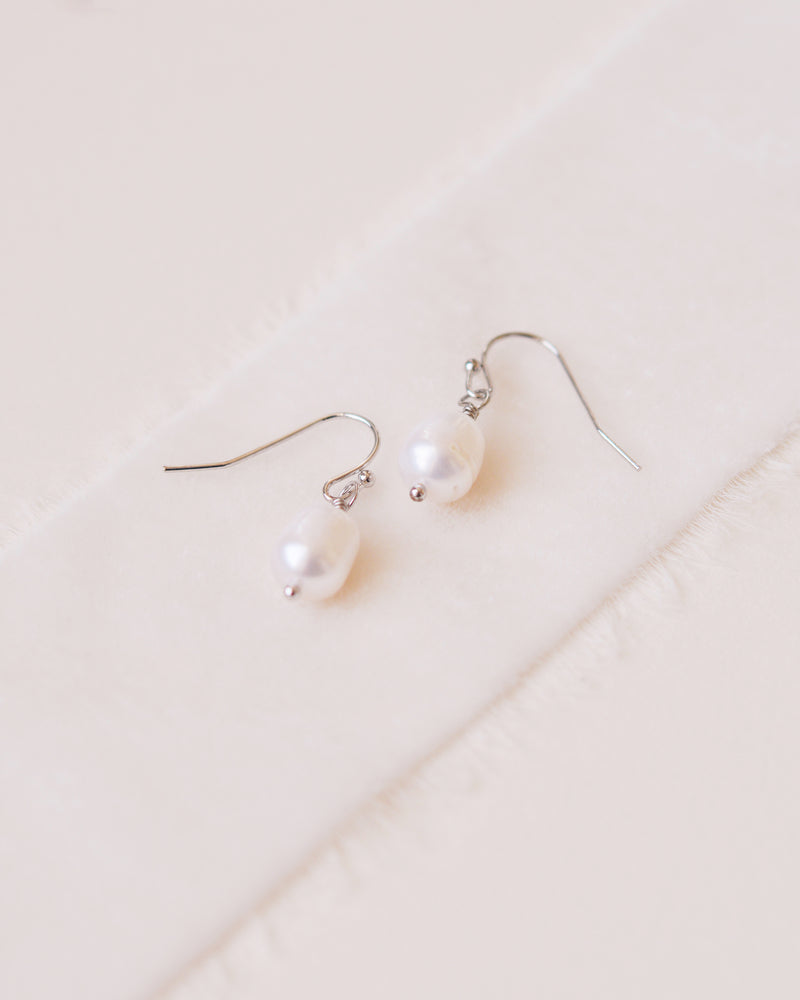 Simple Silver Pearl Drop Earrings