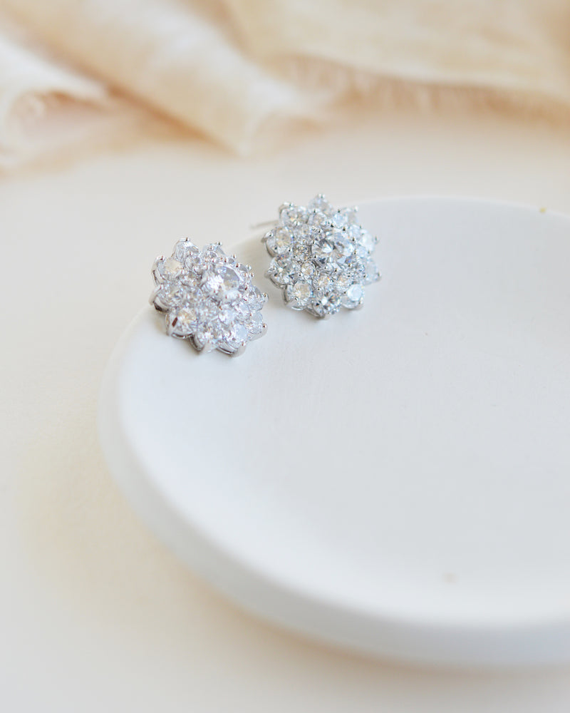 Silver CZ Floral Cluster Statement Stud Earrings