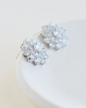 Silver Floral CZ Statement Cluster Bridal Stud Earrings