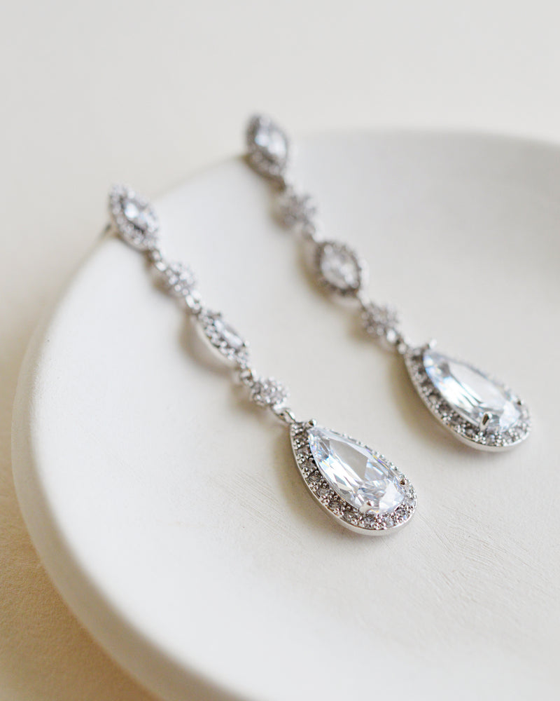 Silver CZ Wedding Dangle Earrings