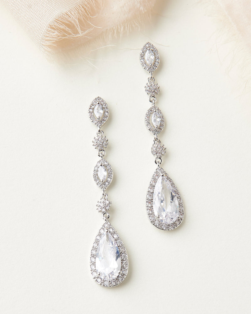 Dangle CZ Earrings for Bride