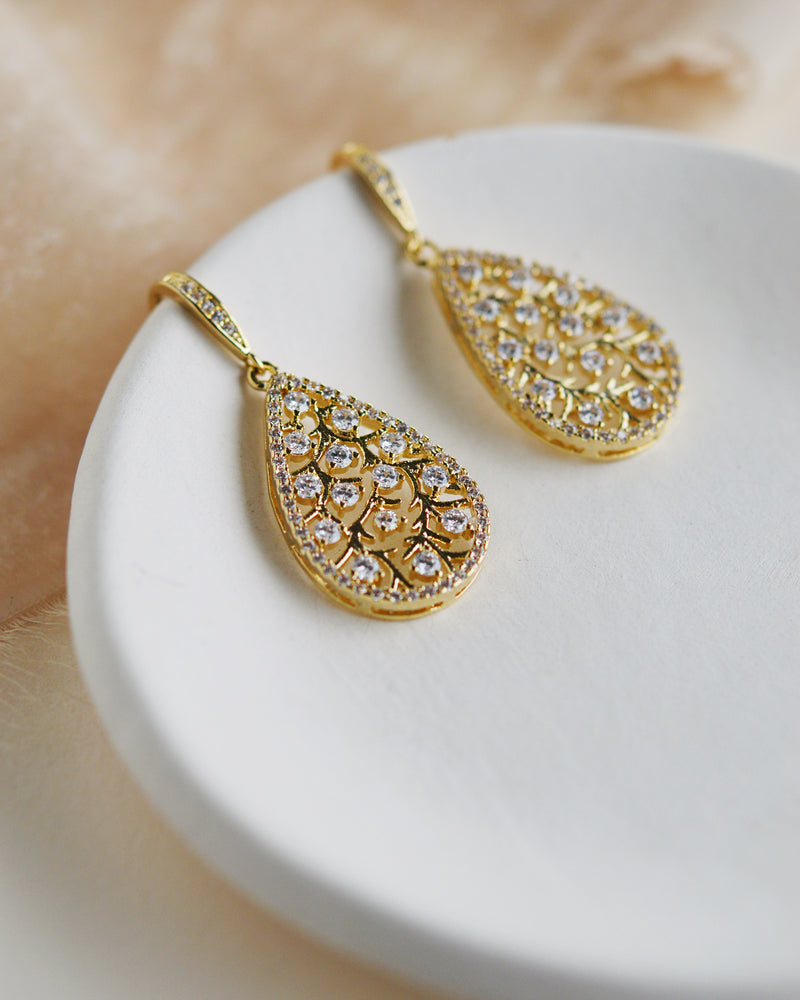 Gold Floral Wedding Earrings