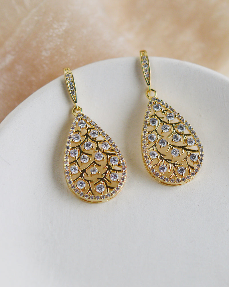 Gold Floral CZ Drop Earrings
