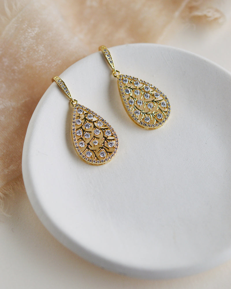 Gold Floral & CZ Bridal Earrings