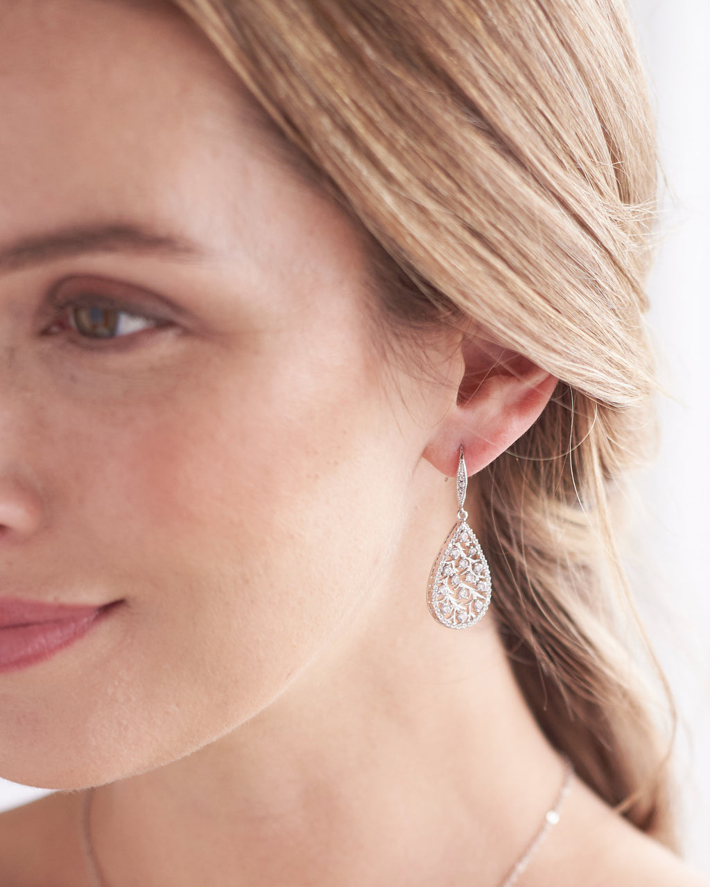 Silver Floral Bridal Earrings