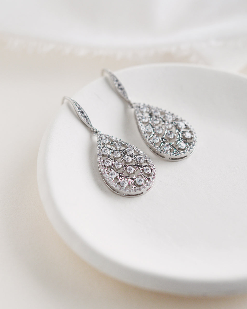 Silver CZ & Floral Wedding Earrings