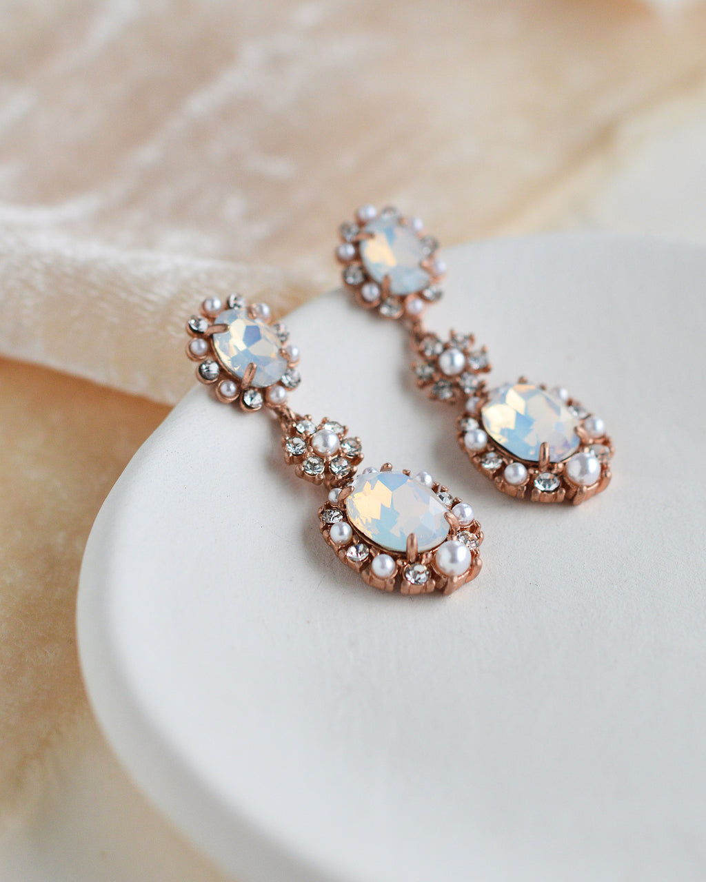 Opal Gemstone & Pearl Drop Style Wedding Earrings