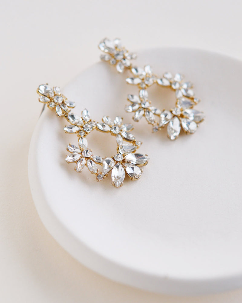 Gold Floral Bridal Earrings