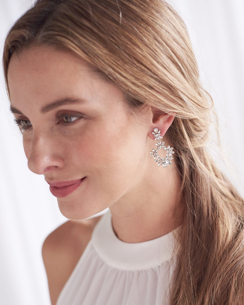 Silver Crystal Drop Statement Earrings