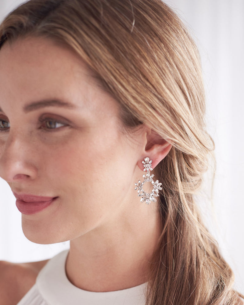 Silver Crystal & Floral Drop Statement Bridal Earrings