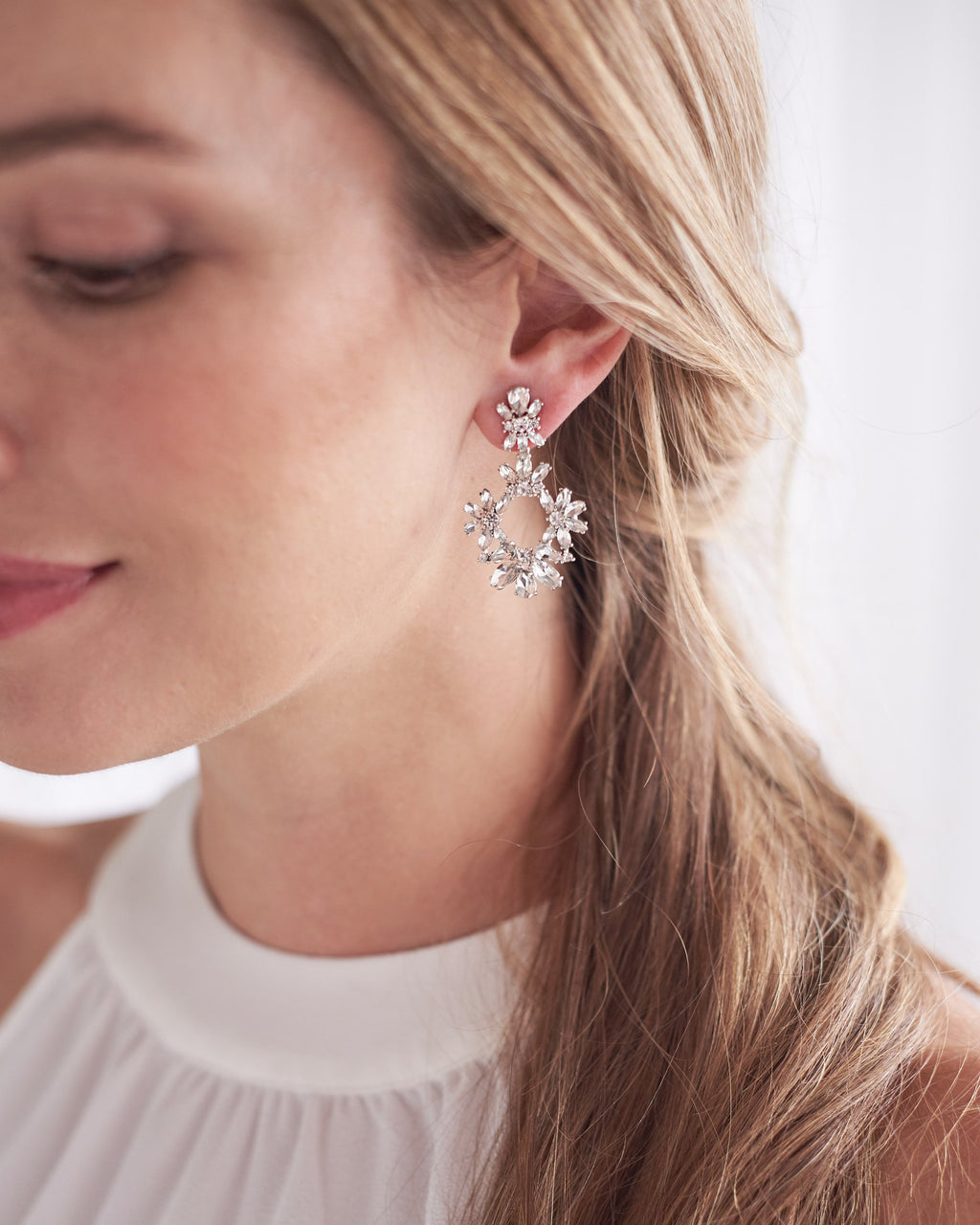Classic Silver Crystal Statement Earrings