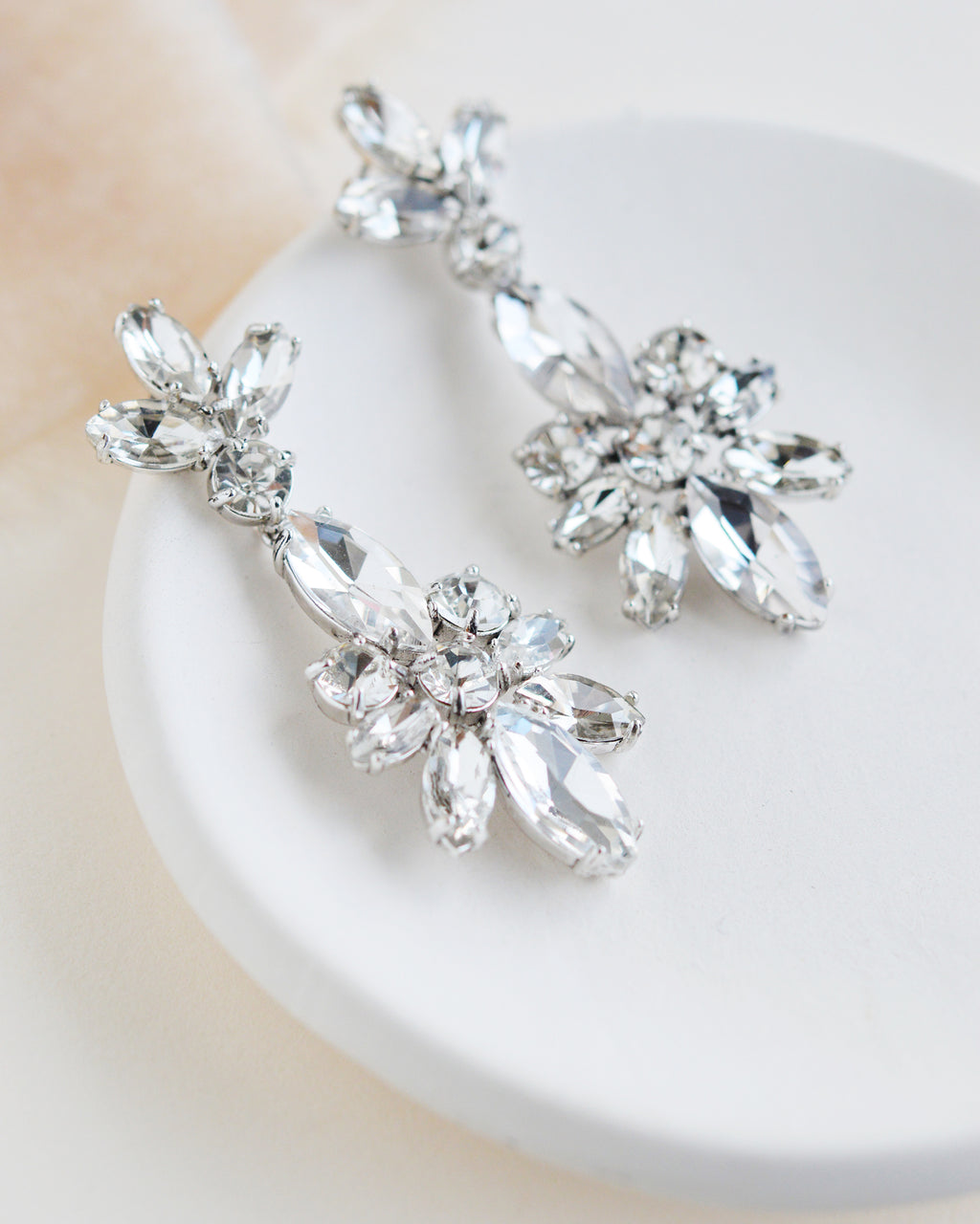 Crystal Floral Statement Earrings