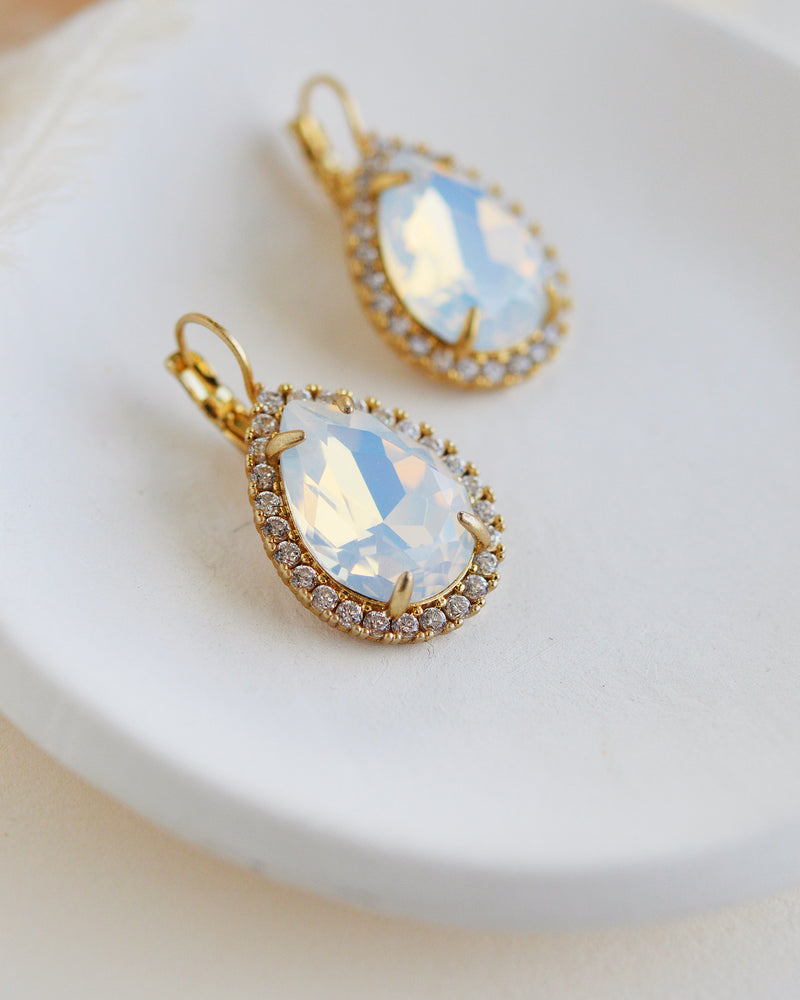 Gold Opal Bridal Earrings