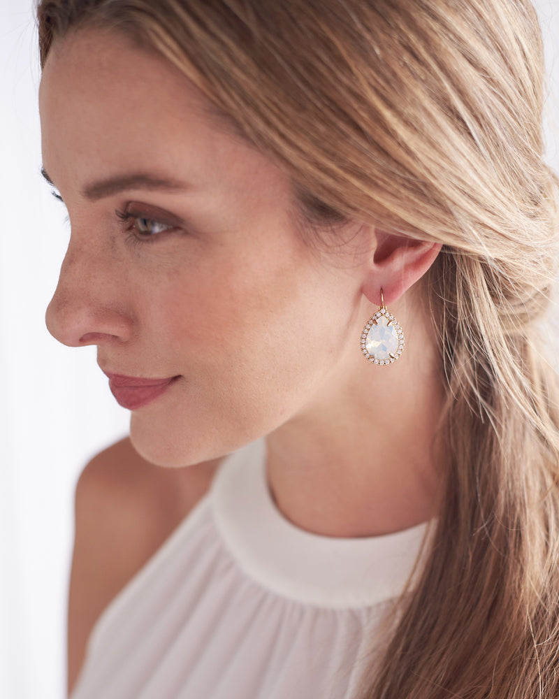 Silver Opal & Crystal Bridal Earrings