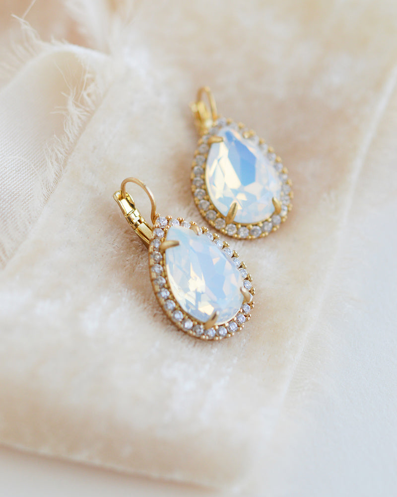 Gold Crystal & Opal Earrings