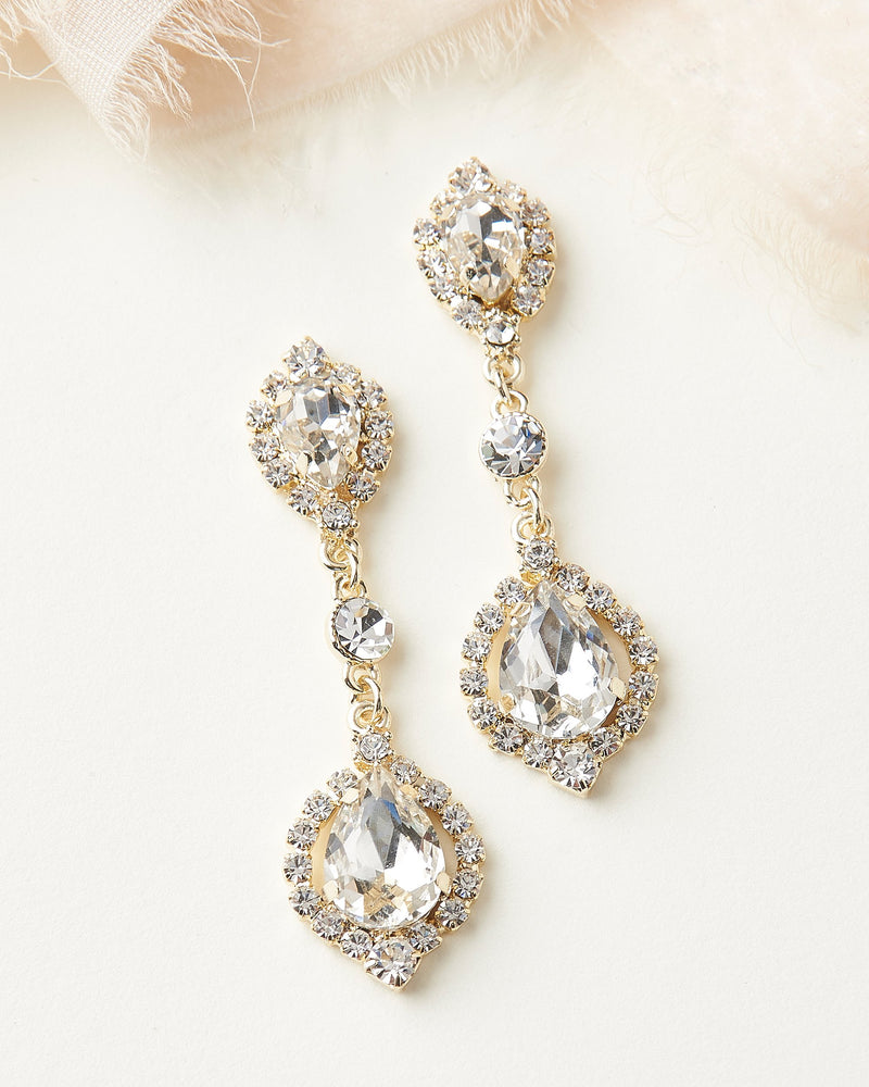 Dangle Gold Earrings Wedding