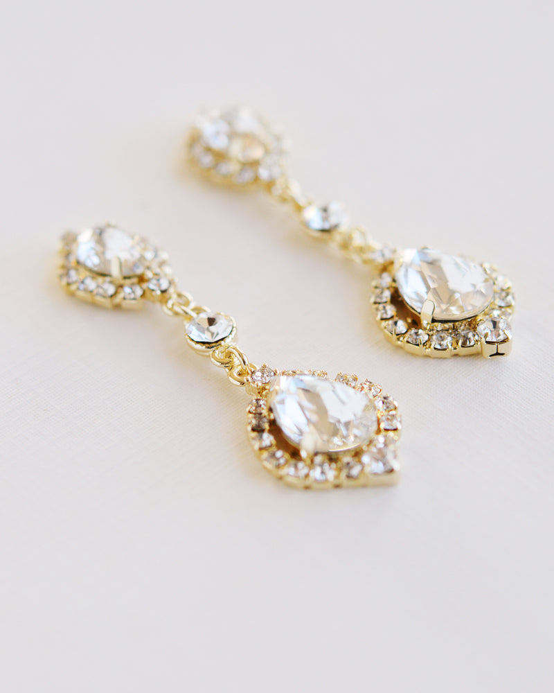 Gold Crystal Statement Bridal Earrings