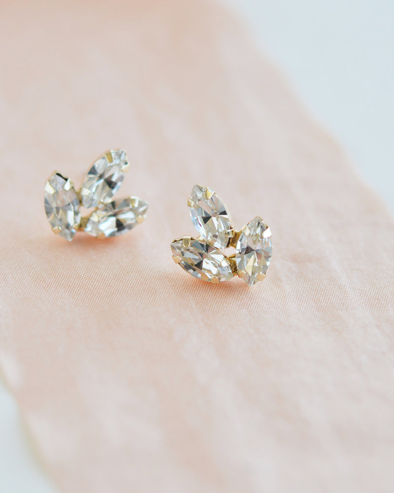 Gold CZ Bridal Earrings