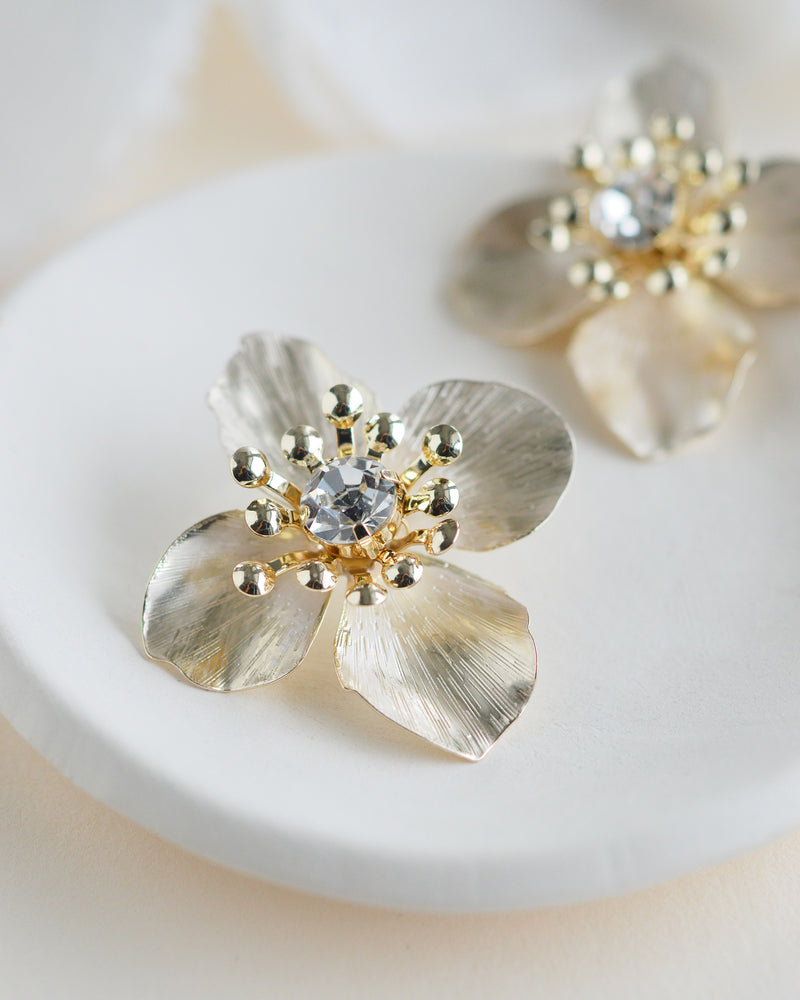 Gold Floral Statement Wedding Earrings